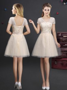Short Sleeves Lace Up Mini Length Lace and Appliques and Belt Damas Dress