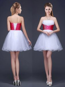 Cute Sleeveless Lace Up Mini Length Beading and Ruching and Belt Dama Dress for Quinceanera