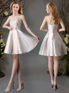 Champagne A-line Appliques and Bowknot Quinceanera Court Dresses Lace Up Satin Sleeveless Mini Length