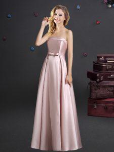 Pink Sleeveless Floor Length Bowknot Zipper Dama Dress for Quinceanera