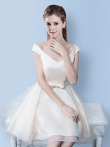 V-neck Cap Sleeves Lace Up Quinceanera Dama Dress White Tulle
