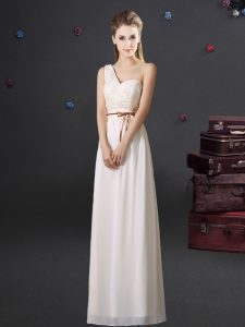 One Shoulder Floor Length White Quinceanera Court of Honor Dress Chiffon Sleeveless Lace and Appliques and Belt