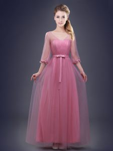 Pink Half Sleeves Ruching and Bowknot Floor Length Dama Dress for Quinceanera