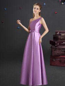 Customized One Shoulder Lilac Elastic Woven Satin Zipper Quinceanera Court Dresses Sleeveless Floor Length Bowknot