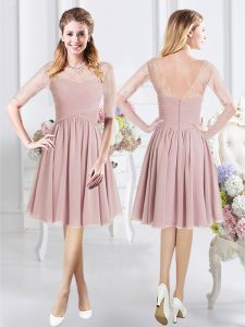 Great Scoop Half Sleeves Zipper Knee Length Lace and Ruching Damas Dress