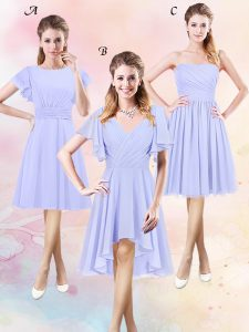 Scoop Lavender Short Sleeves Ruching High Low Court Dresses for Sweet 16