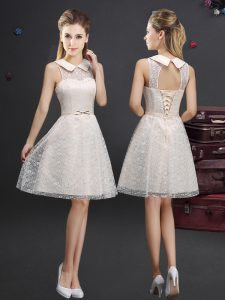 High-neck Sleeveless Dama Dress Knee Length Lace and Appliques Champagne Lace