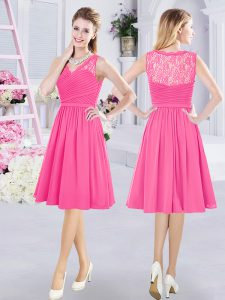 Fabulous Knee Length Side Zipper Dama Dress for Quinceanera Hot Pink for Prom and Party and Wedding Party with Lace and Ruching