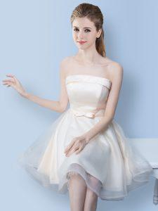 Custom Designed White Tulle Lace Up Strapless Sleeveless Knee Length Court Dresses for Sweet 16 Bowknot