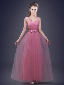Luxurious Pink Lace Up Vestidos de Damas Appliques and Ruching and Bowknot Sleeveless Floor Length