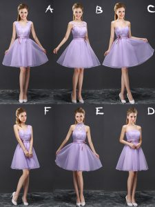 Fabulous Lavender Sleeveless Lace and Appliques and Belt Mini Length Dama Dress for Quinceanera