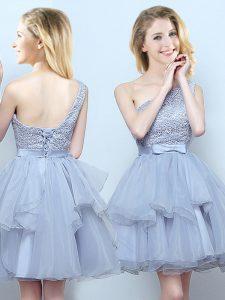 One Shoulder Grey Sleeveless Mini Length Lace and Ruffles and Belt Lace Up Damas Dress
