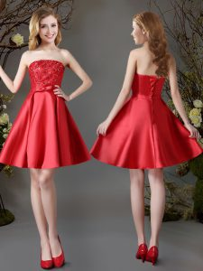 Pretty Mini Length Lace Up Dama Dress Red for Prom and Party with Appliques and Bowknot