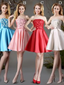 Excellent Red and Baby Blue and Champagne Satin Lace Up Dama Dress for Quinceanera Sleeveless Mini Length Appliques and Bowknot
