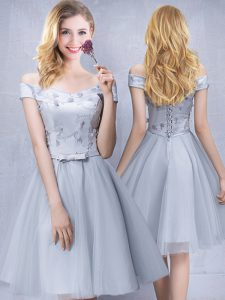 Custom Made Grey Off The Shoulder Lace Up Appliques and Belt Quinceanera Dama Dress Sleeveless