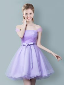 Off the Shoulder Tulle Sleeveless Knee Length Court Dresses for Sweet 16 and Ruching and Bowknot