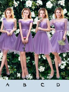 One Shoulder Beading and Appliques and Ruffles and Ruching and Belt and Hand Made Flower Dama Dress Lavender Lace Up Sleeveless Mini Length