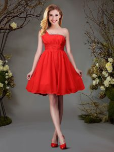 Red Chiffon Zipper One Shoulder Sleeveless Mini Length Quinceanera Court of Honor Dress Beading and Ruching