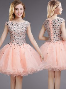 Cap Sleeves Mini Length Beading and Sequins Lace Up Dama Dress for Quinceanera with Pink