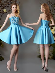 Satin Strapless Sleeveless Lace Up Appliques and Bowknot Quinceanera Court of Honor Dress in Baby Blue