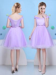 Lavender Tulle Lace Up Dama Dress Cap Sleeves Knee Length Bowknot