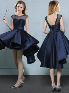 Noble Navy Blue Cap Sleeves Satin Lace Up Quinceanera Court Dresses for Prom and Party and Wedding Party