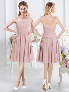 Fabulous Scoop Pink Cap Sleeves Chiffon Zipper Court Dresses for Sweet 16 for Prom and Party and Wedding Party