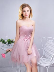 Sleeveless Ruching and Bowknot Lace Up Dama Dress for Quinceanera