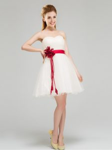 Glorious White Sweetheart Neckline Sashes ribbons and Hand Made Flower Vestidos de Damas Sleeveless Zipper
