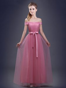 Off the Shoulder Sleeveless Lace Up Floor Length Ruching and Bowknot Vestidos de Damas