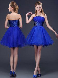Romantic Royal Blue A-line Organza Strapless Sleeveless Beading and Ruching Mini Length Lace Up Damas Dress