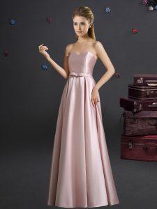 Modest Pink Elastic Woven Satin Zipper Court Dresses for Sweet 16 Sleeveless Floor Length Bowknot