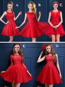 Amazing Scoop Sleeveless Lace Up Quinceanera Court Dresses Red Tulle and Lace