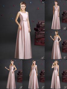 Elastic Woven Satin Square Sleeveless Zipper Bowknot Dama Dress in Pink