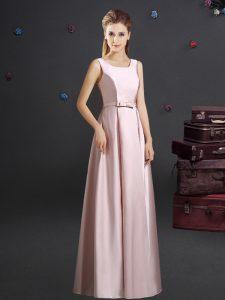 Square Sleeveless Zipper Floor Length Bowknot Quinceanera Dama Dress