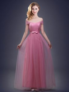 Elegant Off the Shoulder Floor Length Pink Court Dresses for Sweet 16 Tulle Sleeveless Ruching and Bowknot