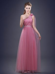 Hot Selling One Shoulder Pink Empire Beading and Ruching and Hand Made Flower Quinceanera Court of Honor Dress Lace Up Tulle Sleeveless Floor Length