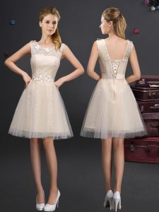 Delicate Scoop Sleeveless Quinceanera Court Dresses Mini Length Lace and Appliques and Belt Champagne Tulle
