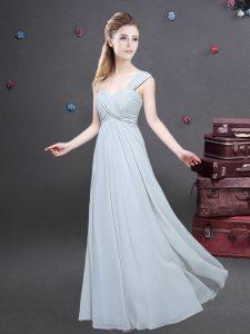 Grey Chiffon Zipper One Shoulder Sleeveless Floor Length Quinceanera Court Dresses Ruching