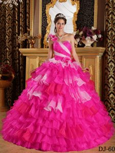Hot Pink One Shoulder Organza Quinceanera Dress with Ruffles and Beading