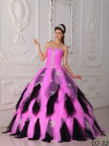 2014 Pink and Black Strapless Organza Quinceanera Dresses with Appliques