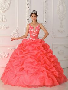 New Straps Satin and Organza Quinceanera Dress with Appliques and Pick-up