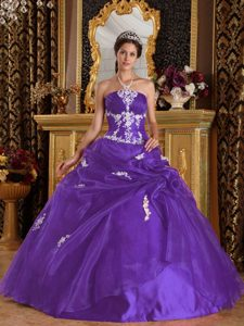 Purple Strapless Organza and Satin Quinceanera Dress with Appliques on Sale