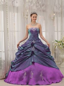 New Strapless Taffeta Appliqued Quinceanera Dress with Hand Made Flowers