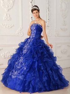 Royal Blue Strapless Satin and Organza Quinceanera Dresses with Embroidery