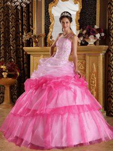 2013 Romantic One Shoulder Organza Appliqued Beaded Quinceanera Dress