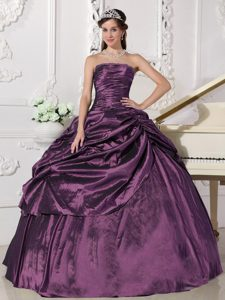 Nice Ruched Strapless Eggplant Taffeta Quinceanera Dress with Pick-ups and Beading