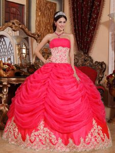 Hot Pink Ruched Strapless Drapped Appliqued Organza Ball Gown Quinceanera Dress