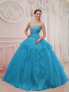 Ruched Strapless Aqua Blue Organza Quinceanera Dress with Appliques on Promotion