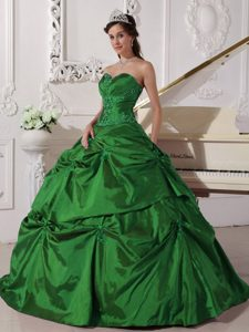 Dark Green Sweetheart Taffeta Quinceanera Gown Dress with Pick-ups and Appliques